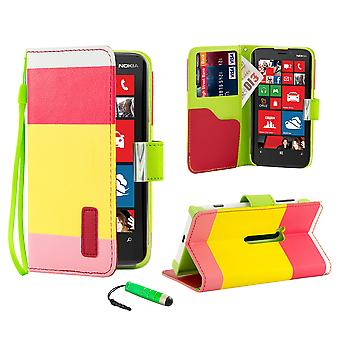 Multiple Stripe wallet case + stylus for Nokia Lumia 920 - Hot Pink