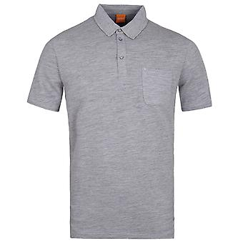 BOSS Orange Plainer Grey Marl Pique Short Sleeve Polo Shirt