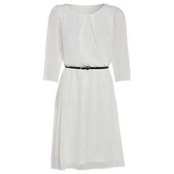 Womens belted flowy chiffon dress DR880-White-14