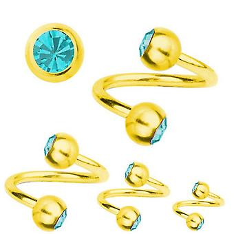 Spiral Twist Piercing guld pläterad Titanium 1,6 mm, SWAROVSKI ELEMENTS Aquamarine | 8-12 mm