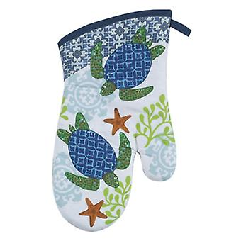 Coastal Blue and Green Sea Turtle Swimming in Coral Kitchen Oven Mitt