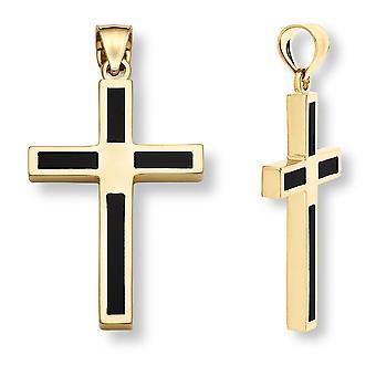 14K Gold Onyx Kors vedhæng til mænd