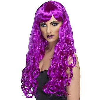 Require long, curly wig, purple, with Pony
