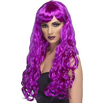 長い、巻き毛のかつら、ポニーと紫色が必要