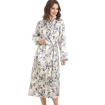 Camille Floral Print Long Satin Cream Wrap