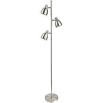 Firstlight Antique Brushed Steel 3 Dome Reading Floor Lamp