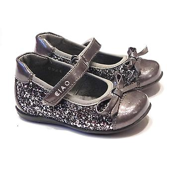 Ciao Girls Grey Patent Leather Shoes With Side Glitter Panels | Ciao