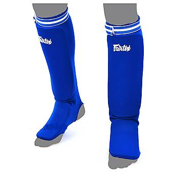 Fairtex Elastic Competition Shin Guards - Blue
