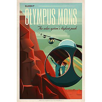 SpaceX Mars tourism poster for Olympus Mons Poster Print Giclee