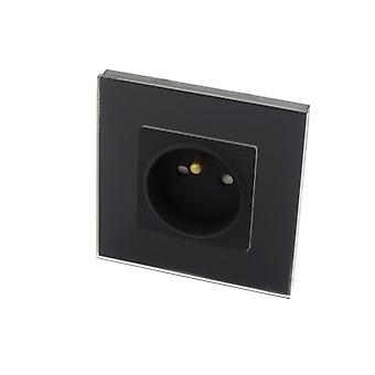 I LumoS Luxury Black Glass Frame 16A French Plug Single Socket