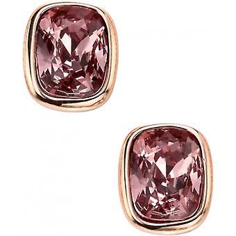 Elements Silver Rose Gold Plated Curved Rectangle Earrings - Rose Gold/Pink