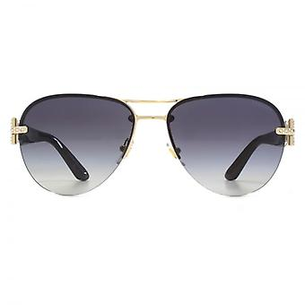 Versace Diamante Hinge Aviator Sunglasses In Pale Gold Grey Gradient