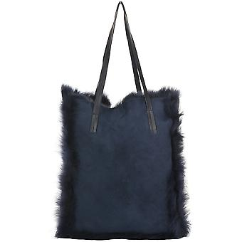 Ashwood Womens Toscana Sheepskin Leather Bag Navy/brissa : Avian
