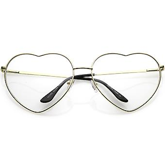 Oversize Metal Heart Shaped Eye Glasses With Clear Lens 71mm