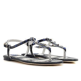Dolce & Gabbana flats t-rem sandaler i blåt kunstlæder