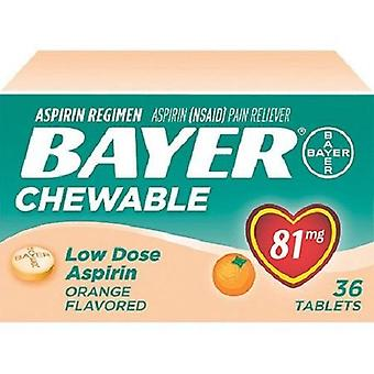 Bayer Orange Flavored Chewable Low Dose Aspirin Pain Reliever 2 Box Pack