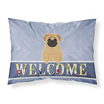 Pug Brown Welcome Fabric Standard Pillowcase