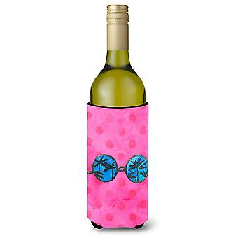 Sunglasses Pink Polkadot Wine Bottle Beverge Insulator Hugger
