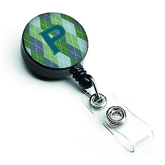 Eerste P Monogram - blauwe Argoyle intrekbare Badge Reel