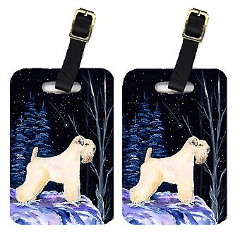 Starry Night Wheaten Terrier Soft Coated Luggage Tags Pair of 2