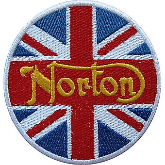 Norton Union Flag round sew-on embroidered patch (yy)
