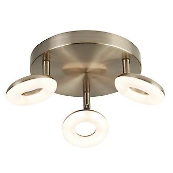 Searchlight 8903AB Donut Three Light Ceiling Spotlight In Antique Brass And Acrylic