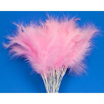 36 Pink Feather Spray Picks for Floristry & Craft Projects