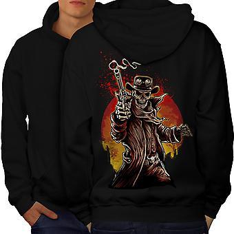 Cowboy occidentale Cool Skull uomini BlackHoodie Back | Wellcoda