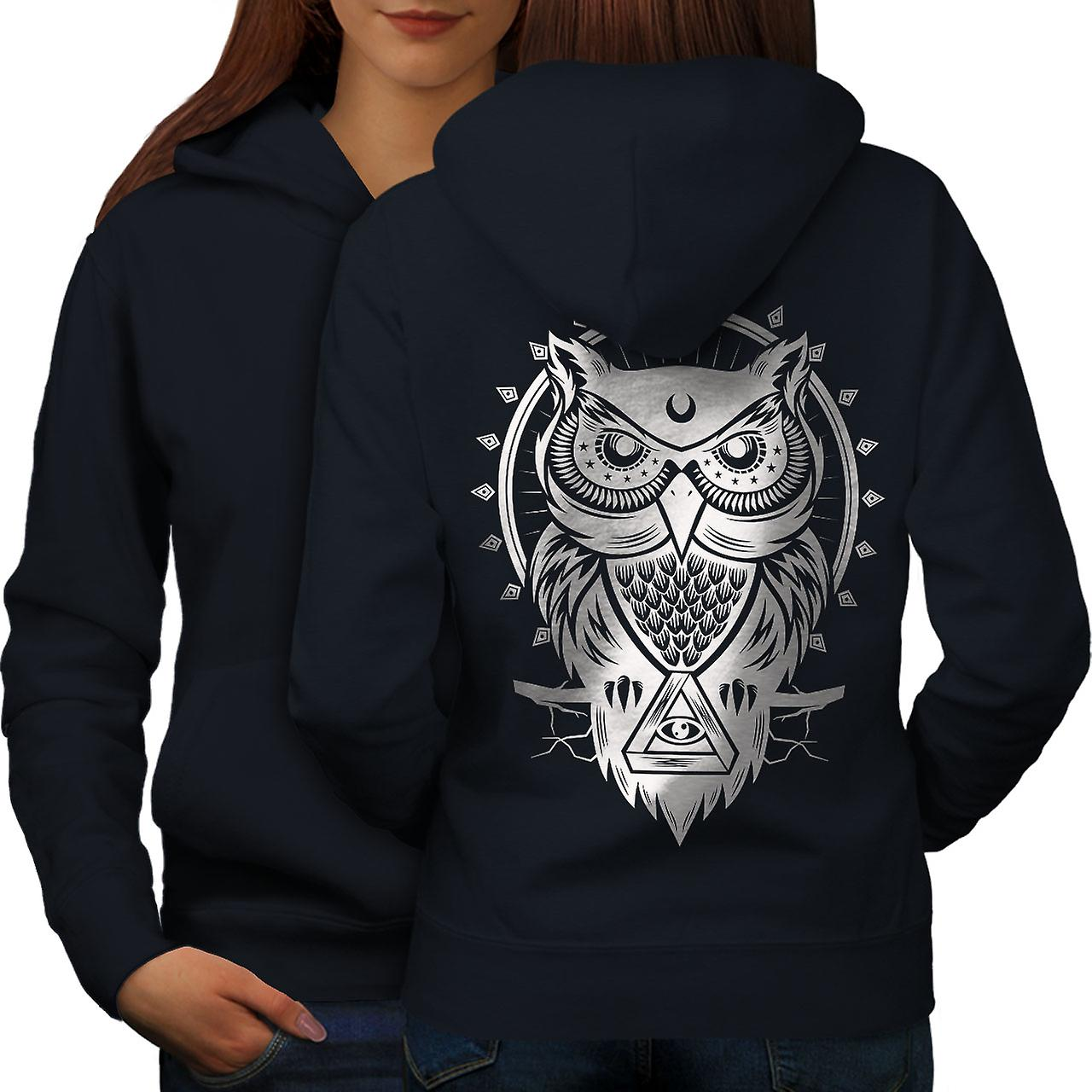 Chouette oeil animale femmes NavyHoodie dos