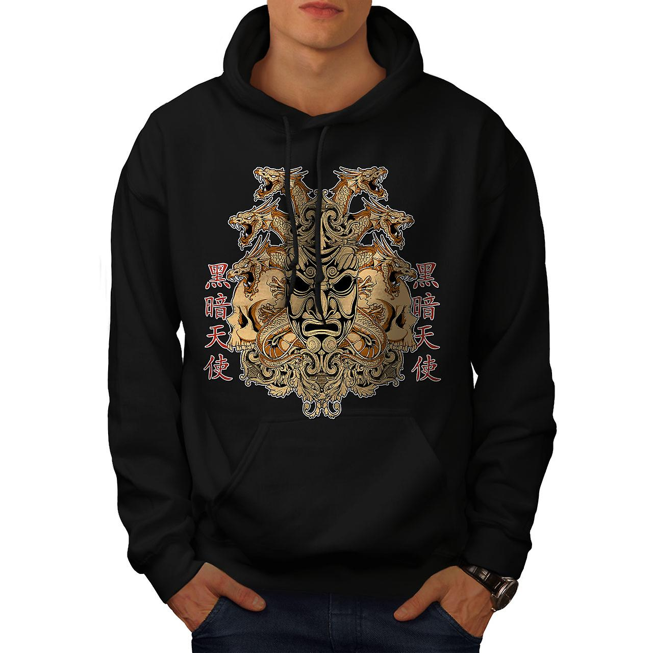 Devil Dragon Asia Fantasy Men Black Hoodie | Wellcoda