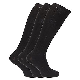 Mens Wool Blend Long Length Socks With Padded Sole (Pack Of 3)