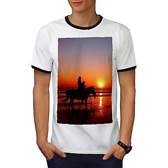 Horses Ocean Photo Men White / BlackRinger T-shirt   Wellcoda