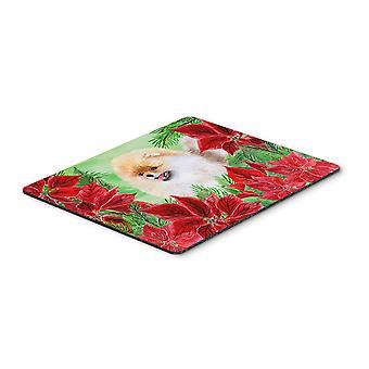 Carolines Treasures  CK1330MP Pomeranian Poinsettas Mouse Pad, Hot Pad or Trivet