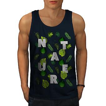 Feuille d'arbre modèle Nature hommes NavyTank Top | Wellcoda
