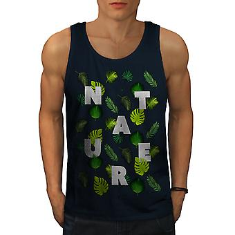 Leaf Tree Pattern Nature Men NavyTank Top | Wellcoda