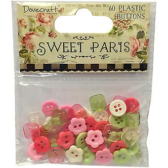 Dovecraft Sweet Paris Plastic Buttons 60/Pkg-  DCBN019