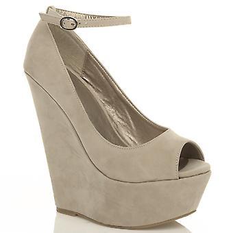 Ajvani женские высокой пятки клина платформы суд обувь лодыжку ремень сандалии