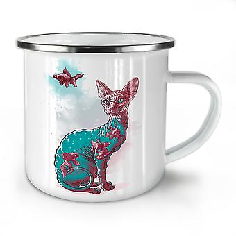 Cat Fish Art Cool NEW WhiteTea Coffee Enamel Mug10 oz | Wellcoda