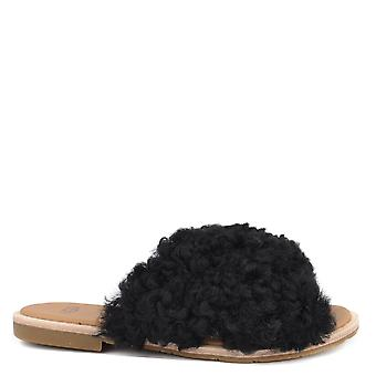 Ugg Joni Black Curly Slides