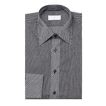 Prada Men's Checkered Cotton Dress Shirt Black