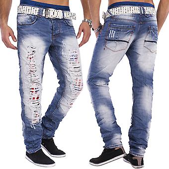 Herren destroyed Used-Look 5-Pocket Jeans Hose New York zerissen Slim Fit blau