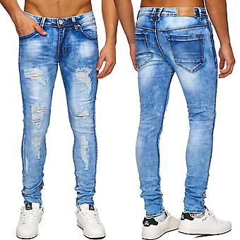 Men Jeans Trousers cut up Destroyed Denim Torn Cout out ripped frayed