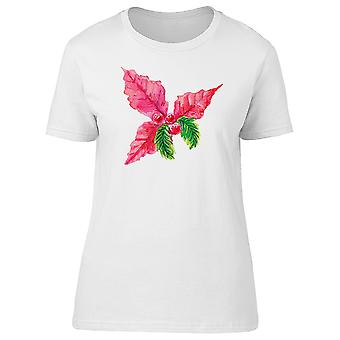 Red Poinsettia Xmas Ornate Tee Women's -Image by Shutterstock