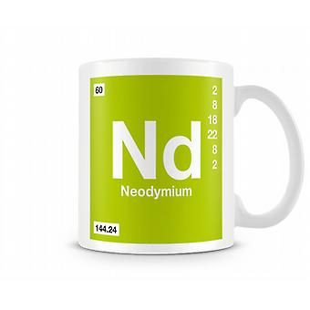 Element symbool 060 Nd - Neodymium afgedrukt mok