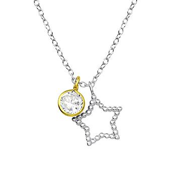 Star - 925 Sterling Silver Jewelled Necklaces - W35567X