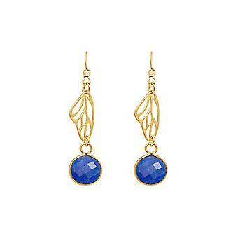 Gemshine - ladies - earrings - 925 silver - gilt wings - Sapphire - Butterfly - blue - 4 cm