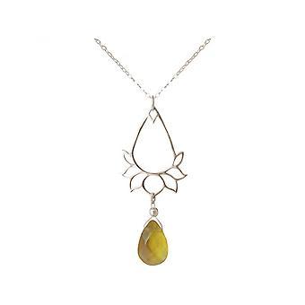 Mujeres - Pulsera - plata 925 - flor de loto - citrino - gotean - oro - YOGA - 45 cm