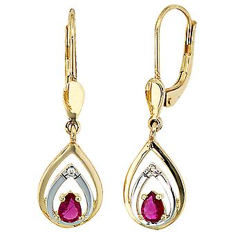 Boutons 585 gold 0, 01ct. Ruby Earrings earrings part rhodium plated diamond brilliant