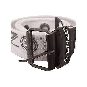 Mens White Canvas Webbing Eyelet Belt | Enzo Designer Menswear