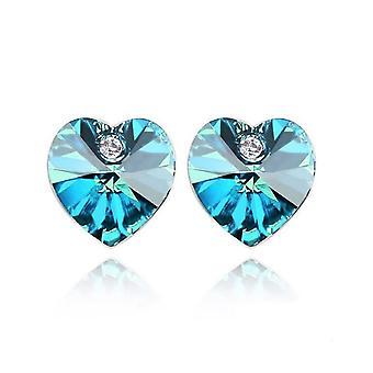 Oostenrijkse Crystal Blue hartvormige elementen oorbellen